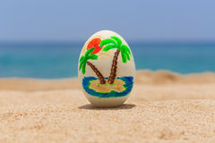 Tropical painted easter egg Stock Images