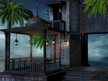 Tropical palace at night Stock Photography