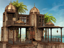 Tropical palace with palm trees Stock Images