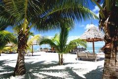 Tropical palm beach resort. In Mabul Island Royalty Free Stock Photography