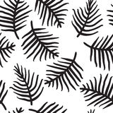Tropical palm or ferm leaves isolated on white. Seamless pattern. Vector illustration. Handdrawn Stock Image