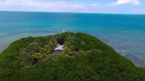 Tropical palm green tree island isolated small wooden house in deep blue ocean water endless horizon of Florida skyline. Tropical palm green tree island isolated stock video footage