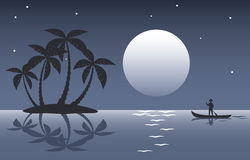 Tropical palm island at night Stock Photos