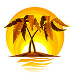 Tropical palm on island in ocean with sunset Stock Photo