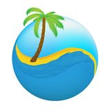 Tropical palm on island with sea. Stock Image