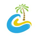 Tropical palm on island with sea. Logo Stock Images