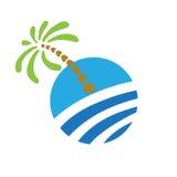 Tropical palm on island with sea. Logo Stock Photos