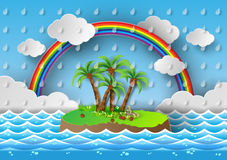 Tropical palm on island with sea and rainbow.vector illustration Stock Photo