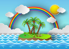 Tropical palm on island with sea and rainbow.vector illustration Royalty Free Stock Photography