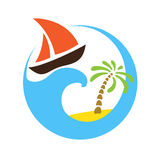 Tropical palm on island with sea and sailboat. Vector logo. Stock Photo