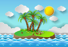 Tropical palm on island with sea and sun shine. Stock Images