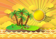 Tropical palm on island with sea and sunbeam.vector illustration. Vector illustration of tropical palm on island with sea and sunbeam.paper cut style royalty free illustration