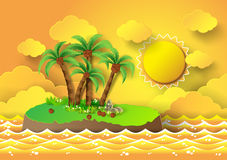 Tropical palm on island with sea and sunlight. Vector illustration stock illustration