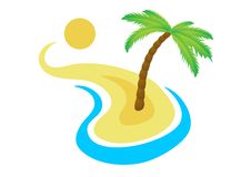 Tropical palm on island with sea. Royalty Free Stock Photo