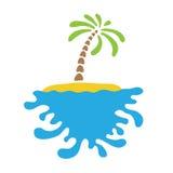 Tropical palm on island with sea. Vector logo Royalty Free Stock Photos