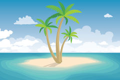 Tropical Palm On Island. Summer Landscape Stock Photo