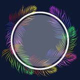 Tropical palm leaves neon in the form of a wreath with a round frame for text vector illustration