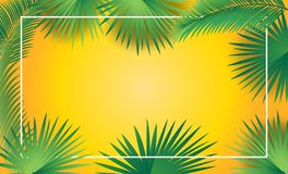 Tropical palm leafs frame Sukkot Rosh Hashanah Royalty Free Stock Photos