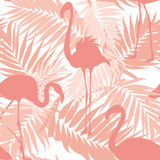 Tropical palm leaves exotic flamingo birds pink Stock Images