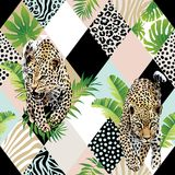 Tropical palm leaves and exotic leopard background. Royalty Free Stock Photography
