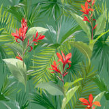 Tropical Palm Leaves and Flowers, Jungle Leaves Seamless Floral Pattern Background Royalty Free Stock Photo