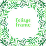 Tropical palm leaves, foliage wreath, round frame Stock Image