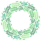 Tropical palm leaves, foliage wreath, round frame Royalty Free Stock Photo