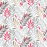 Tropical palm leaves in grey, red and gold colors, seamless foliage pattern royalty free illustration