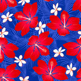 Tropical palm leaves with hibiscus flowers seamless pattern on a Stock Image