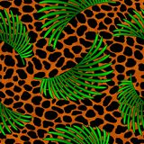 Tropical palm leaves jungle on leopard fur seamless vector pattern background. Tropical flora banana palm leaves jungle on leopard or jaguar fur skin exotic vector illustration