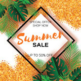 Tropical palm leaves, plants. Trendy Summer Sale Template banner. Paper cut art Exotic. Hawaiian. Text. Rhombus frame Royalty Free Stock Photos