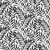 Tropical palm leaves, seamless foliage pattern. Vector illustration. Tropical jungle palm tree background. Black and white illustration. Black tree leaves Royalty Free Stock Photography