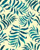 Tropical palm leaves seamless pattern stock illustration