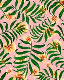 Palm leaves seamless pattern and plumeria flowers. stock illustration