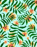 Palm leaves seamless pattern and plumeria flowers. royalty free illustration