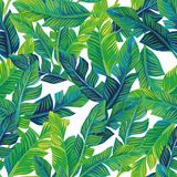 Tropical palm leaves seamless background royalty free illustration