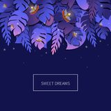 Tropical palm leaves template. Sweet dreams tropical palm leaves template with twinkling fireflies on purple background. Summer trendy floral vector background Royalty Free Stock Photos