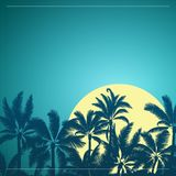 Tropical palm with moon sunrise and blue sky. Silhouette of tropical palm with yellow moon sunrise and night sky background Royalty Free Stock Images