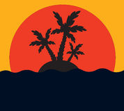 Tropical Palm On Island In Ocean Stock Images