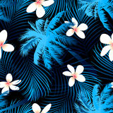 Tropical palm seamless pattern with black background Royalty Free Stock Photography