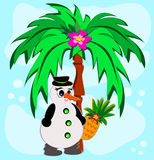 Tropical Palm with Snowman Stock Image