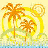 Tropical palm tree. Vector background Royalty Free Stock Image