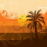 Tropical palm tree background stock illustration