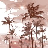 Tropical palm tree background Stock Photo