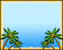 Tropical palm tree border stock photos