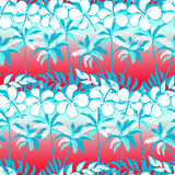 Tropical palm tree with hibiscus flowers and palms Royalty Free Stock Photography