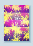 Tropical Palm Tree Retro Mosaic Summer Holiday Poster - Vector I Stock Photography