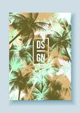 Tropical Palm Tree Retro Mosaic Summer Holiday Poster - Vector I Royalty Free Stock Photo