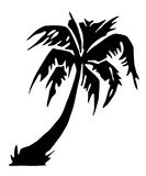 Tropical palm tree silhouette. Black silhouette of tropical palm tree, isolated on white background Stock Photography
