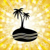 Tropical Palm Tree Silhouette Background with Orange Starburst. Royalty Free Stock Photography